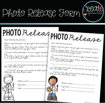Photo Release Form Education Pinterest Student work, Parents - image release form