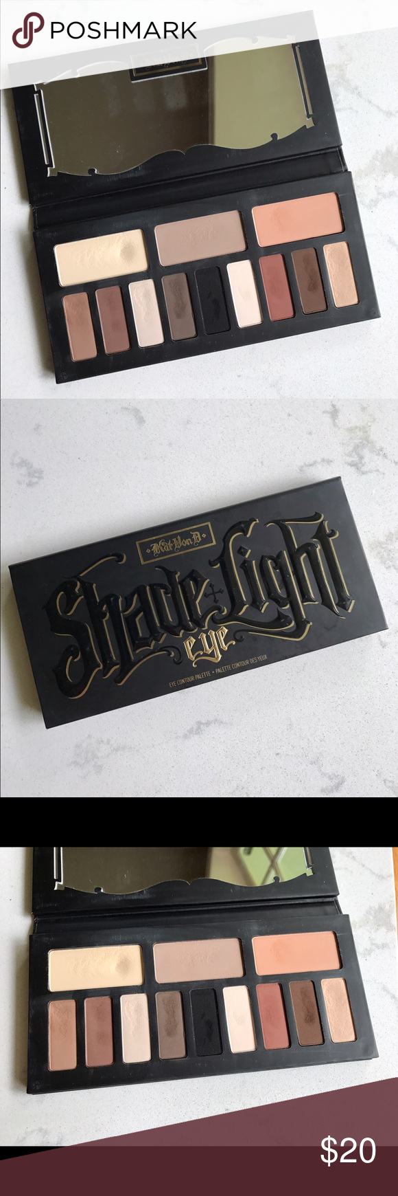 Kat Von D Shade & Light Eye Palette This is the older version of this very versatile palette. I believe the only difference is in the case material (this is the cardboard not the hard case). This palette has been used, as the pictures show, but it's got a lot of use left in it! Kat Von D Makeup Eyeshadow