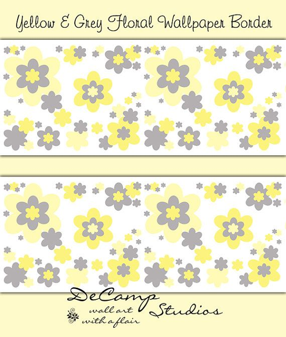 Yellow and Grey Gray Floral wallpaper border wall art decals for ...