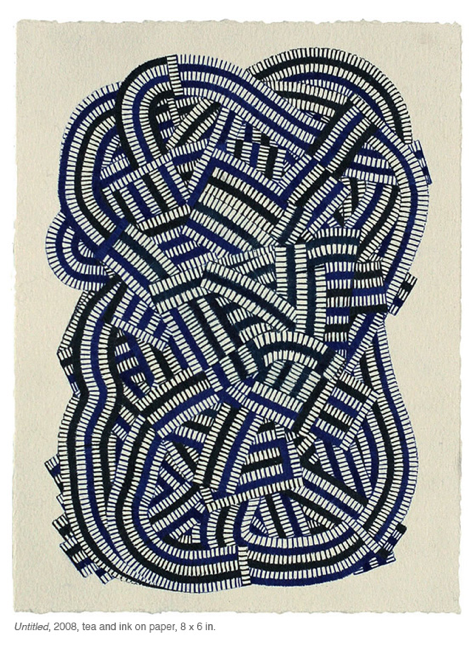 Untitled, 2008, tea and ink on paper, 8 x 6 in.