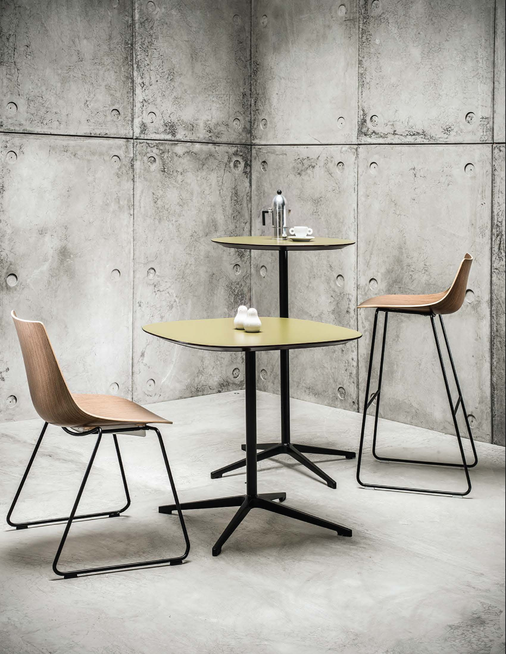 curve chair and barstool with open tables