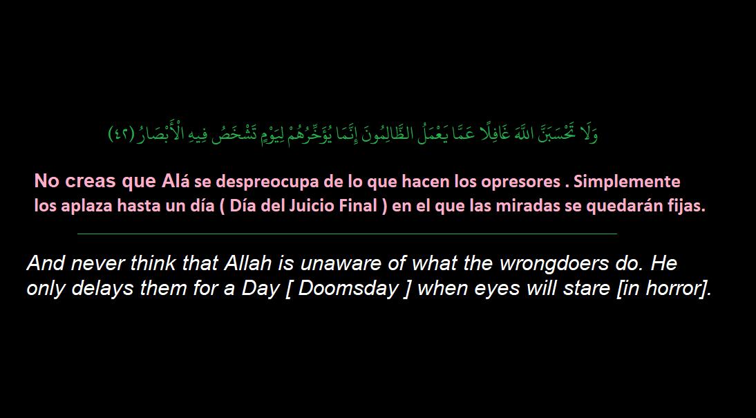 ولا تحسبن الله غافلا عما يعمل الظالمون ترجمة المعني بالاسبانية والانجليزية Lockscreen