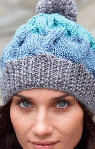 Шапка с помпоном спицами | шапки | Pinterest | Stricken und Häkeln