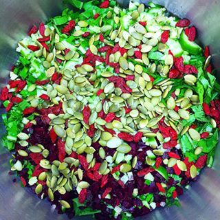Be sure to eat for your beautiful, healthy hair! Here's an interesting hair beauty salad for you ( this is a huge batch for 6+!): goji berries, pumpkin seeds, dandelion greens, beets, lime juice and a little olive oil and sea salt. Tons of hair-building zinc, vitamins A,C,K, amino acids to build protein, cleansing properties for your liver and digestive tract to help enhance hair nutrition and more.