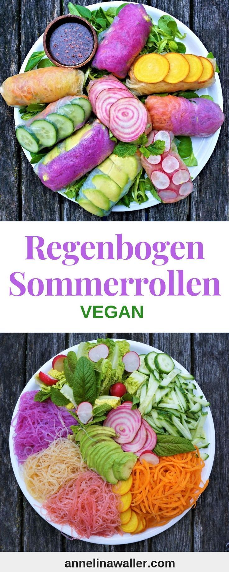 Rainbow Summer Rolls #veganerezeptemittag