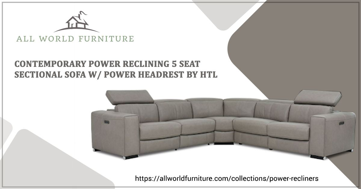 Enjoyable Htl Fabric 5 Piece Power Reclining Sectional W Power Pabps2019 Chair Design Images Pabps2019Com