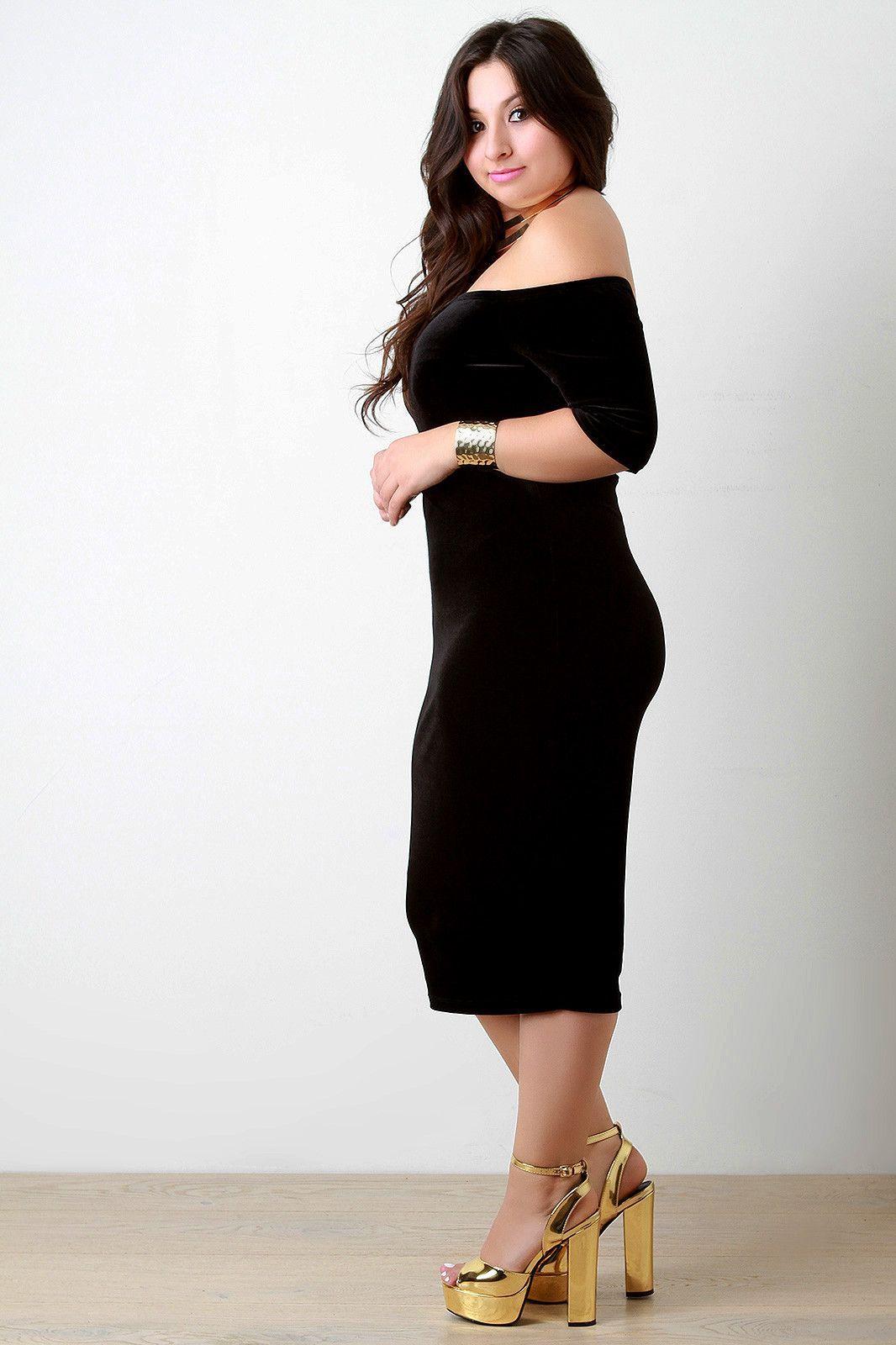 Velvet offtheshoulder short sleeve dress products pinterest