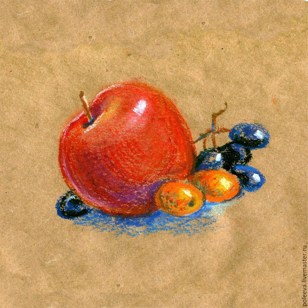 #poleeva_art Яблоко, виноград и кумкват - коричневый, крафт, пастель, масляная пастель, натюрморт, на кухню, яблоко