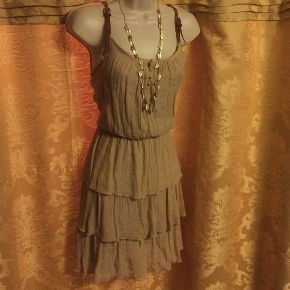 Ruffled iridescent dress Pictures don't do this dress Justice at all! Gold iridescent layers with a cinched natural waistline. Brown buckles on shoulder straps. Worn one time to see Fleetwood Mac! Shawl and knee boots look awesome with it obviously! Volume One Dresses Midi