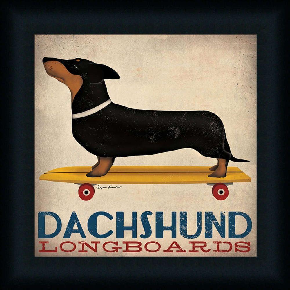 Dachshund Longboards Ryan Fowler Dog Riding Skateboard Framed Art Print  Picture