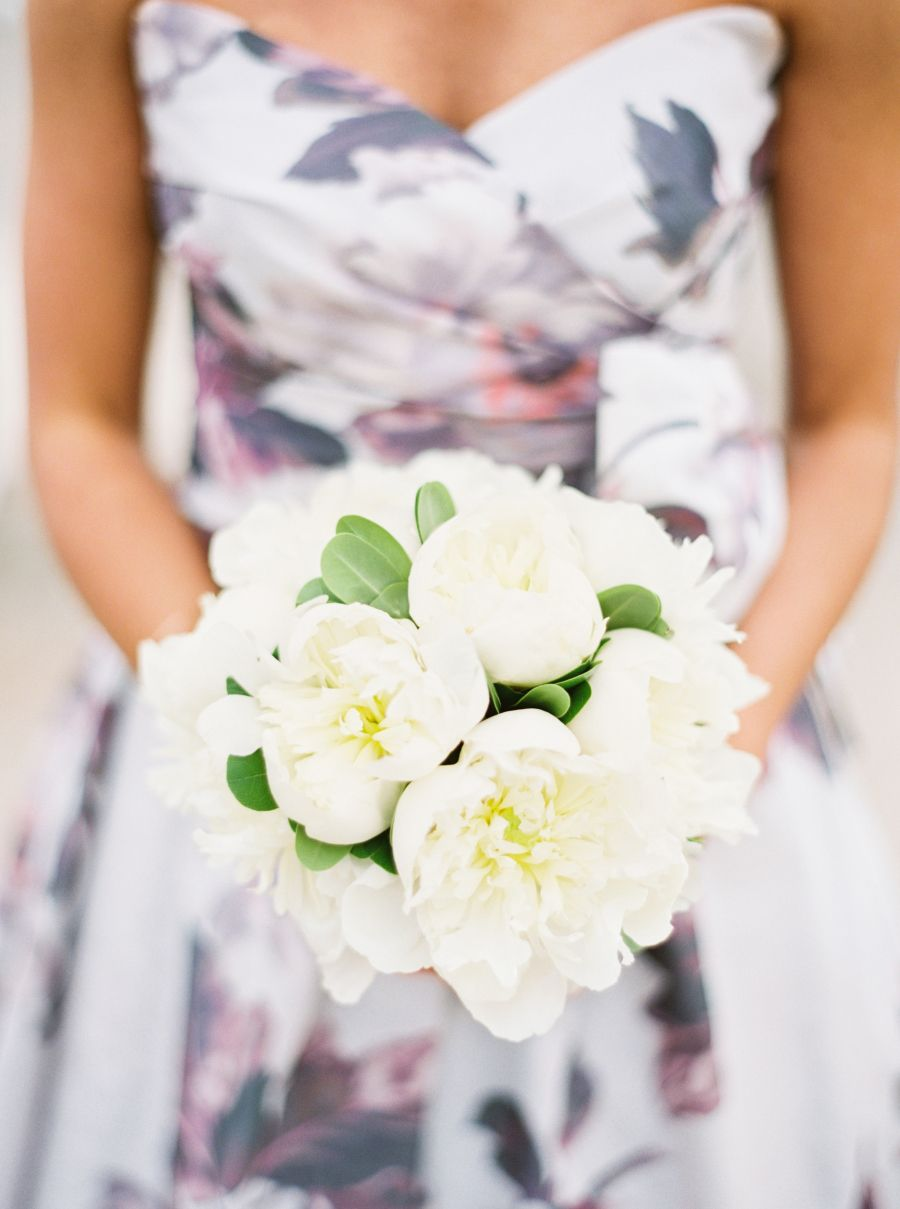 The Bride Designed Her Own Floral Print Wedding Dress  Bouquet