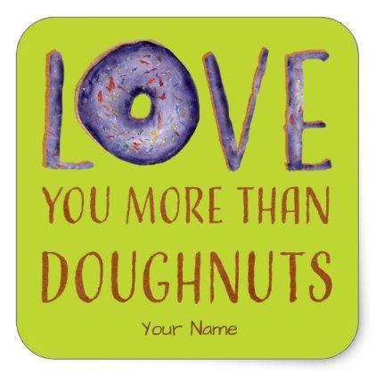 Plum and green doughnut love square sticker
