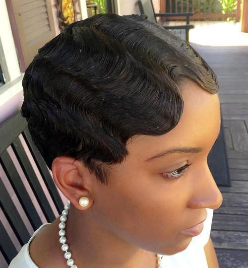 Very Short Hairstyle With Finger Waves Very Short Hair Short Hair Styles Finger Waves Short Hair
