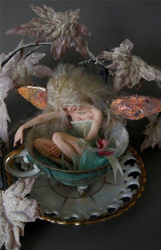 teacup fairy - I love these sleeping fairies. I'm going to make everyone one for their gardens.