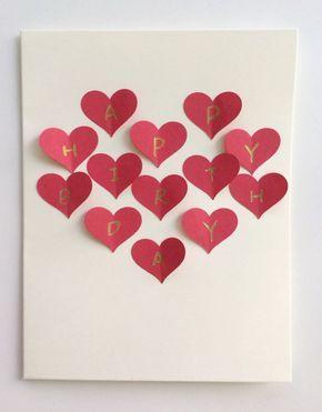 Red Heart Collage Handmade 3D Postcard Card Romantic Gift For Girlfriend Boyfriend Birthday