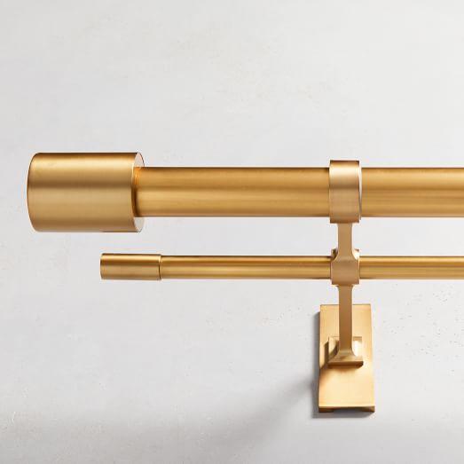 Oversized Adjustable Metal Curtain Rod Antique Brass West Elm