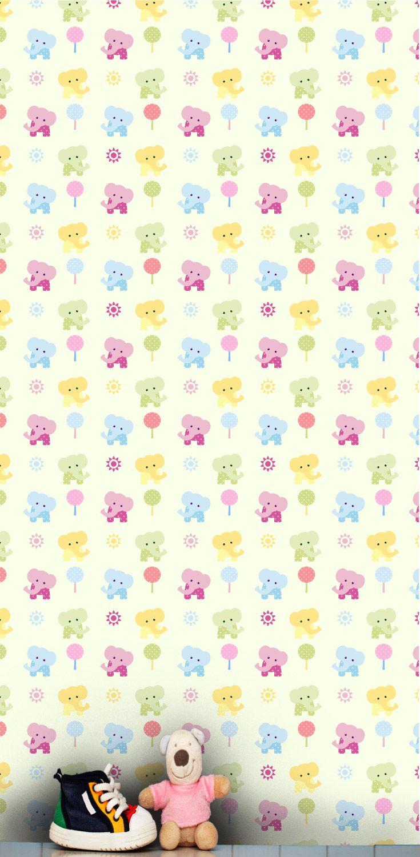 Cute Baby Elephants Nursery Wallpaper Pattern