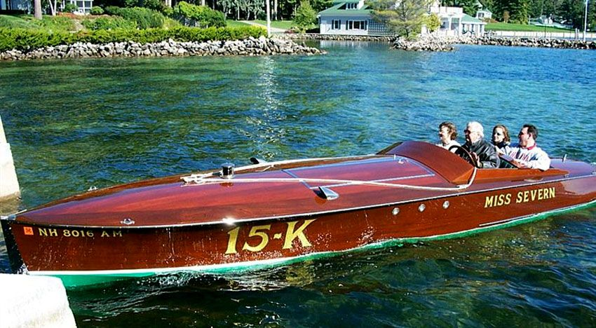 Miss Severn is 26ft long, 6ft wide and weighs 4300 lbs. She is powered with a World War II Rolls Royce Meteor V12 engine of 1650 cubic inches. Miss Severn was completed in 1994 from a set of plans developed by John Hacker to meet the new rules for Gold cup racing in 1922. The original boat was built from the same set of plans in 1922 and was called Arab VI .