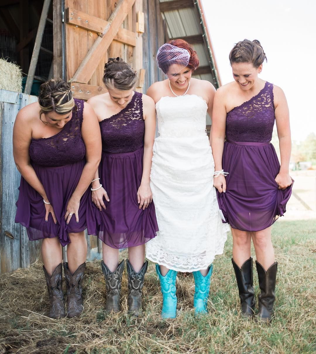 One shoulder lace and mesh bridesmaid dresses in plum on these one shoulder lace and mesh bridesmaid dresses in plum on these country davids bridal bridesmaids ombrellifo Images