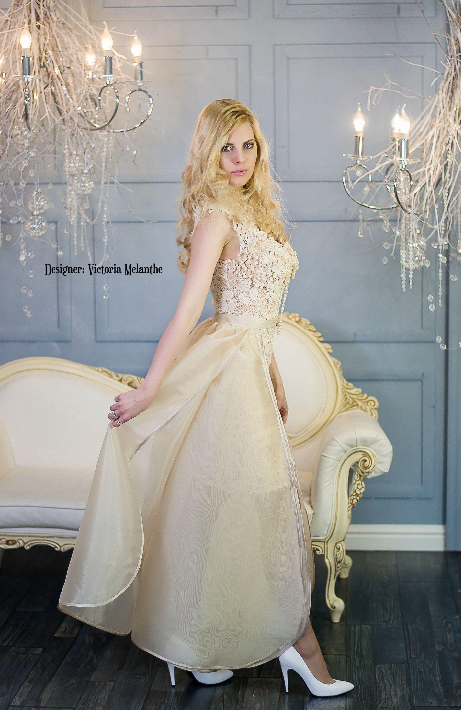 Vintage wedding dress, Ivory wedding dress crochet