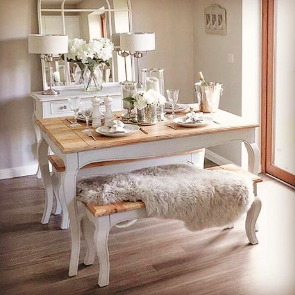Parisian 130cm Shabby Chic Dining Table With Benches Shabby Chic Dining Tables Shabby Chic Dining Shabby Chic Dining Room