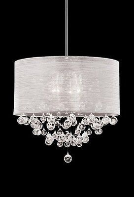 New 4 Lamp Crystal Chandelier Pendant Dia 20 Silk Drum Shade