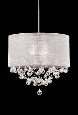 New 4 Lamp Crystal Chandelier Pendant Dia 20 Silk Drum Shade