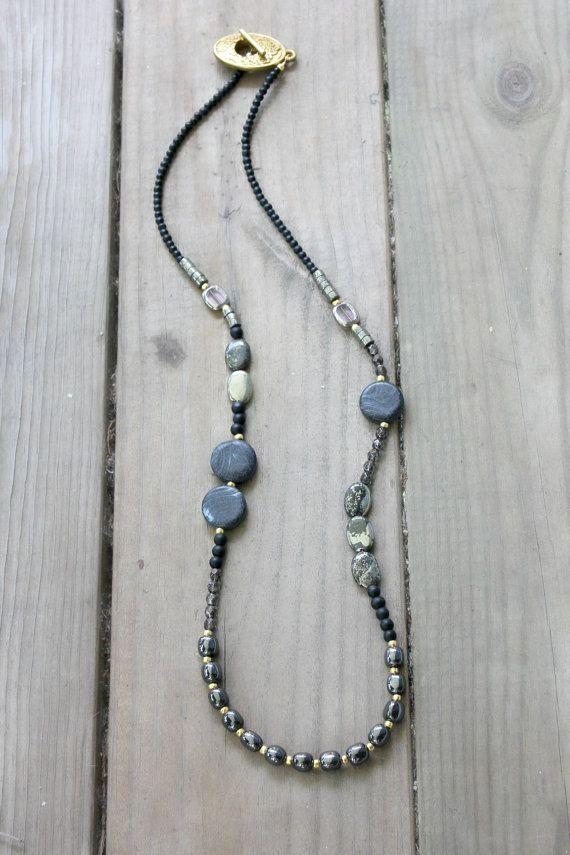 use code OOAK5 for $5 off!  Long Boho Necklace Pyrite Onyx and Glass  Boho by BohemianWhimSea, $72.00