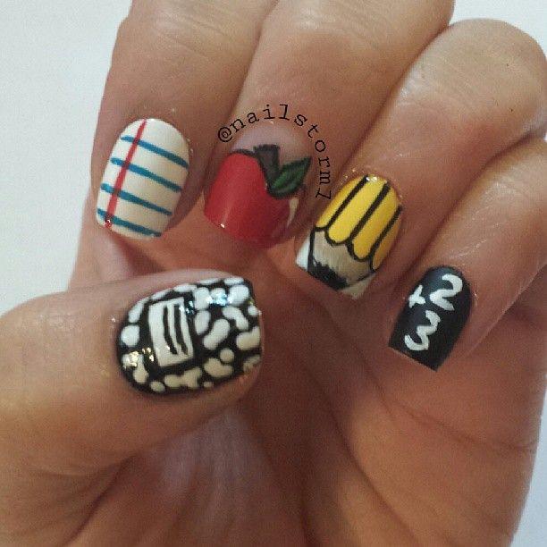 Teacher Nail Art, School, Back To School Nail Art Pencil