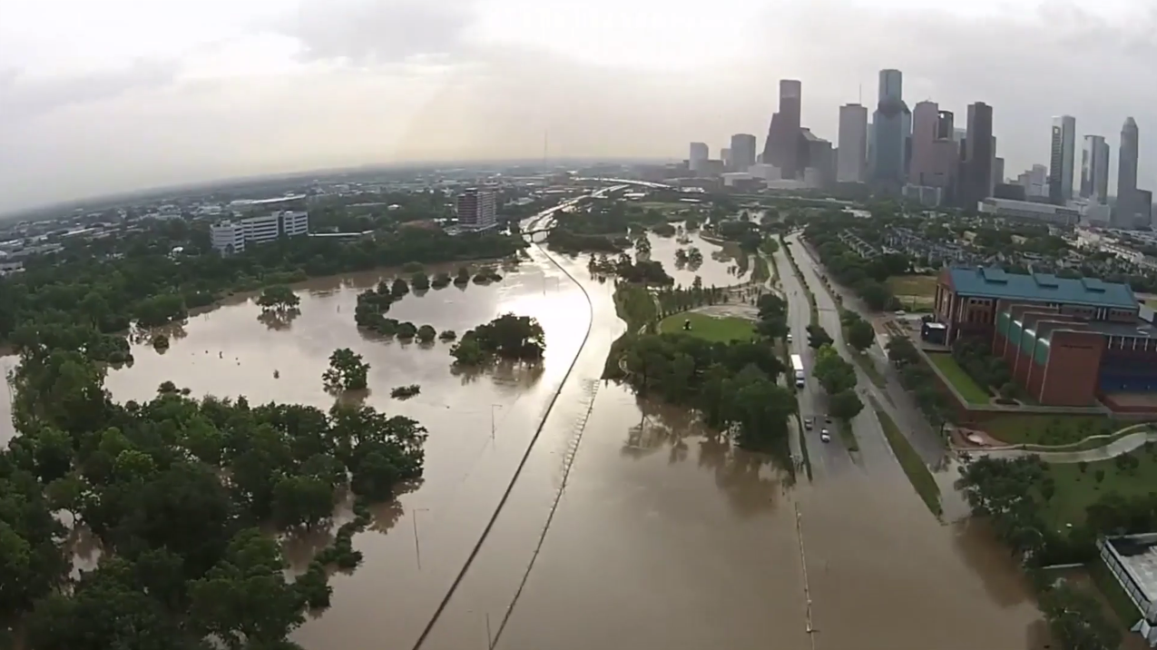 Houston drone video reveals extent of major
