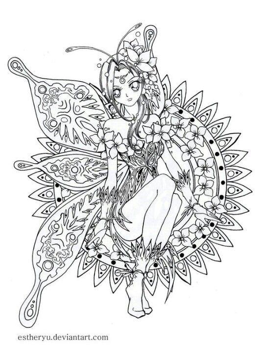 Tr s jolie petite f e colorier a vos crayons dessins coloriages coloring pages adult - Coloriage fleur tres jolie ...