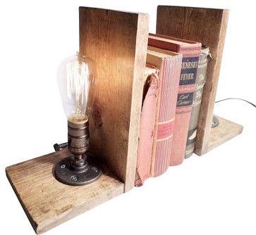 Rustic Industrial Edison Bulb Bookend Lamp With Bulb   Industrial    Bookends   Urban Industrial Craft
