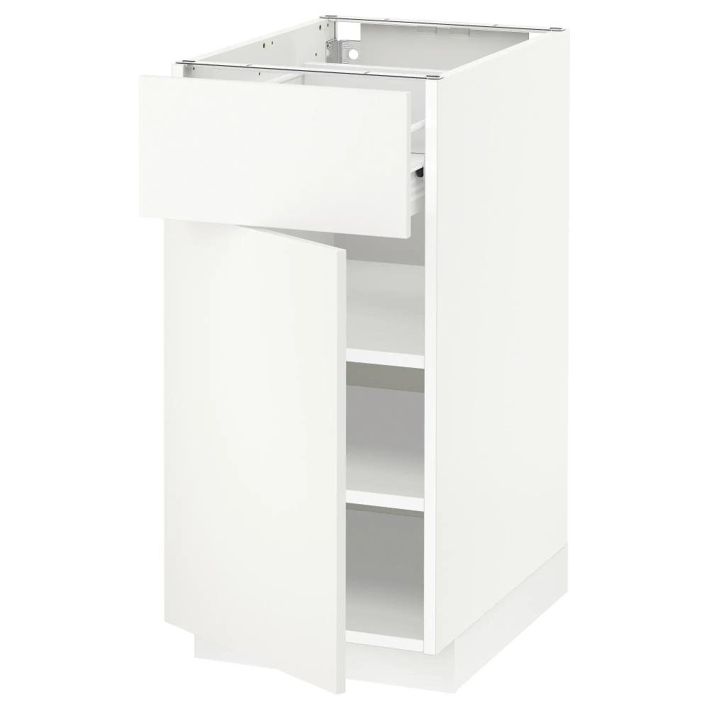 Metod Forvara Element Bas Avec Tiroir Porte Blanc Haggeby Blanc Ikea En 2020 Meuble Bas Tiroir Decoration Interieure Cuisine