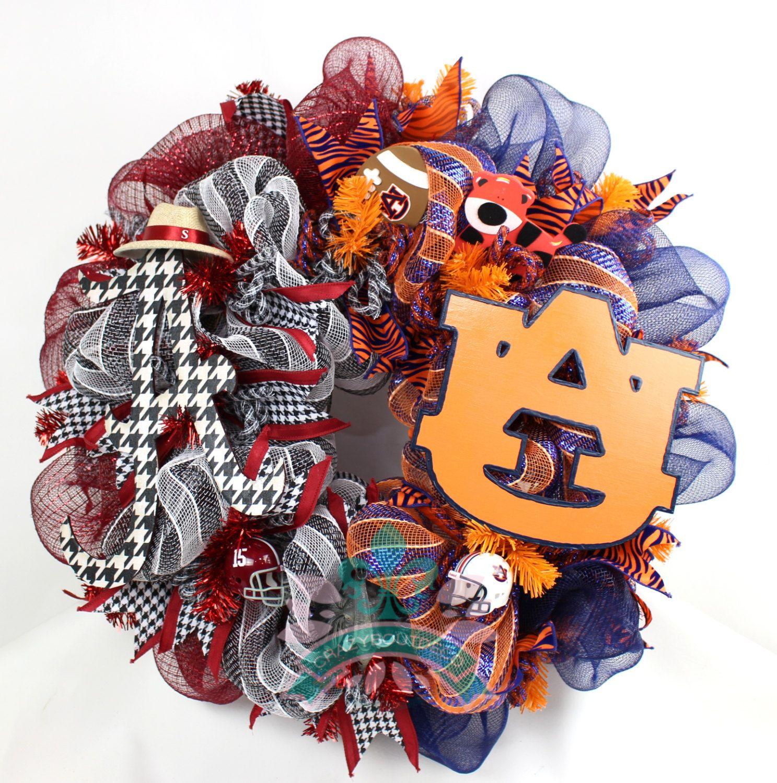 Alabama Crimson Tide Auburn Tigers House Divided Deco Mesh Door Wreath By  Crazyboutdeco On Etsy