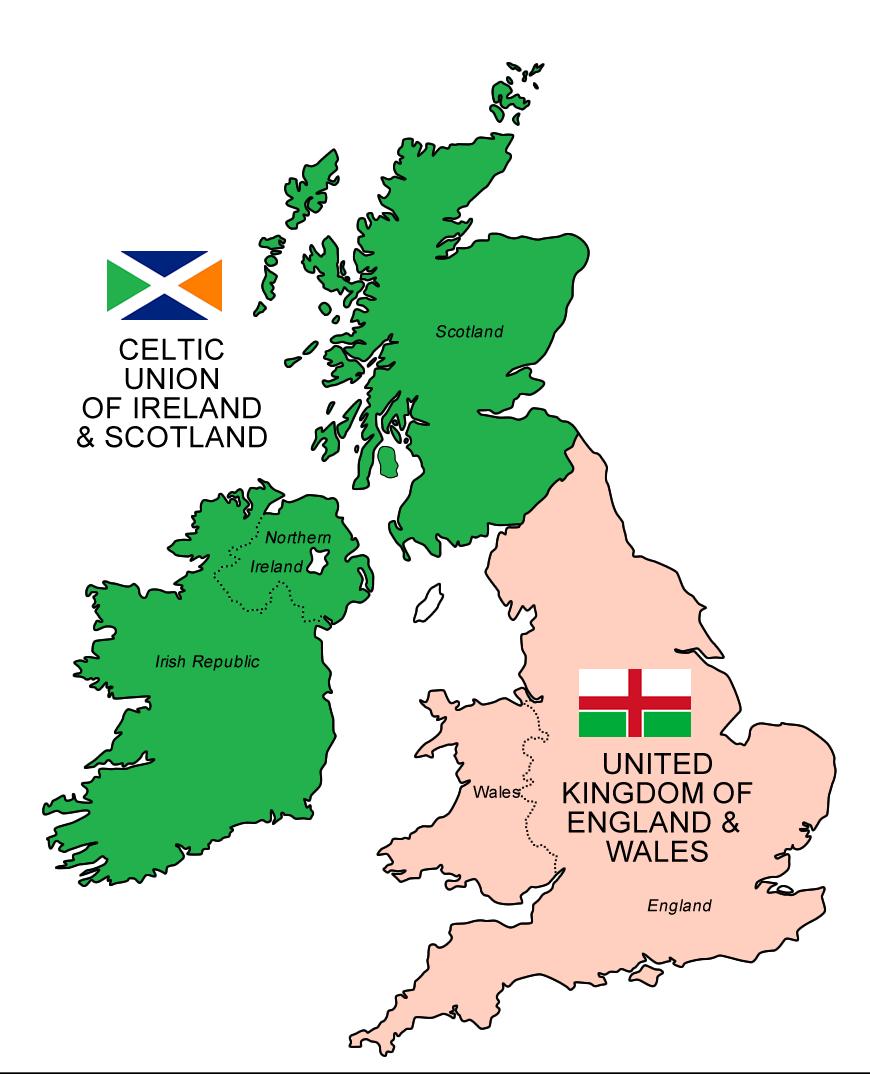 "Theoretical map of the ""Celtic Union of Ireland & Scotland"
