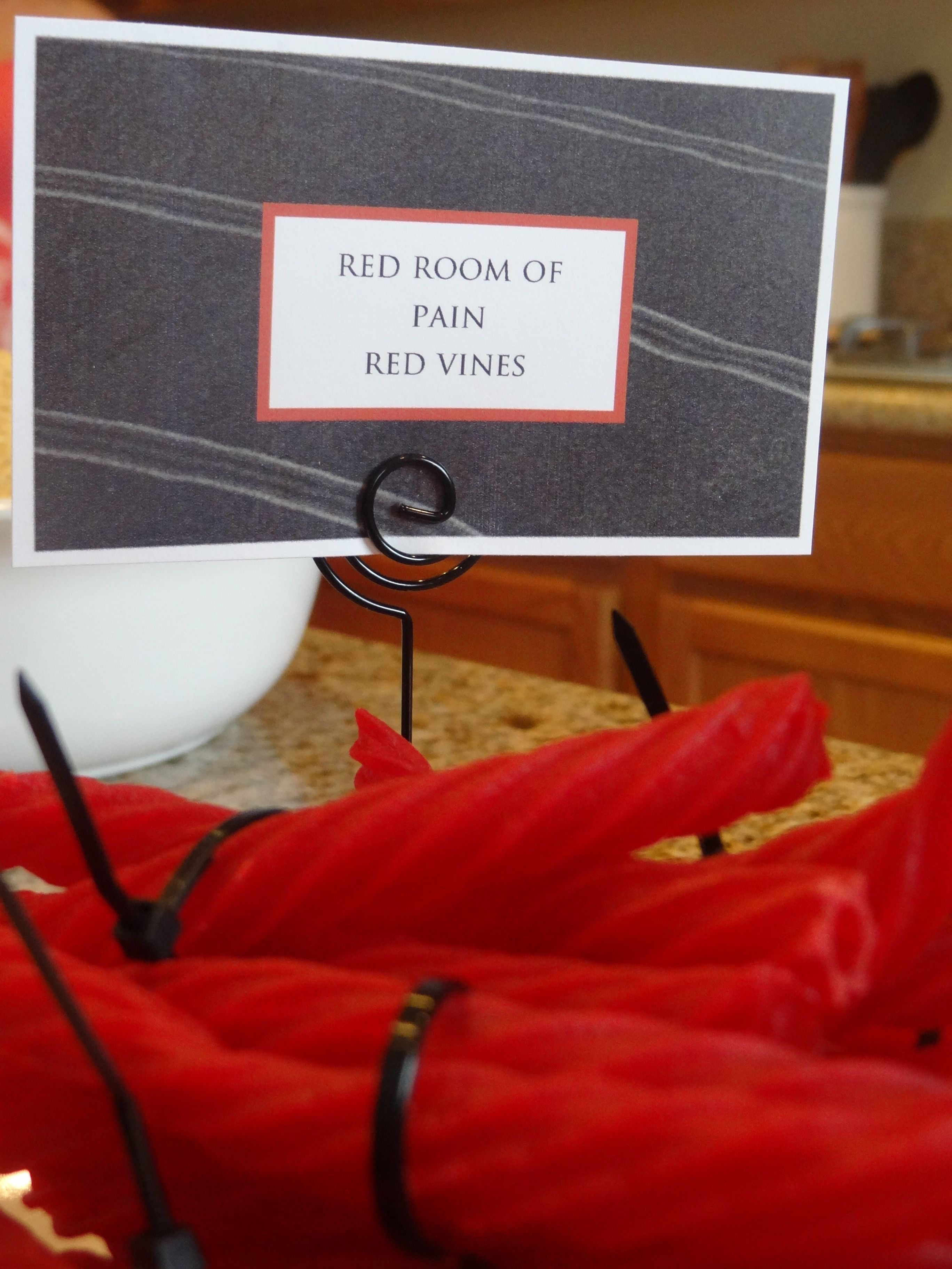 Fifty Shades Of Grey Themed Party Red Room Of Pain Red Vines Fastened With Black Zip Ties
