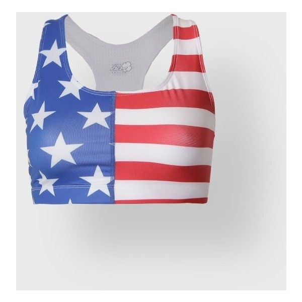 AMERICAN FLAG SPORTS BRA ❤ liked on Polyvore featuring activewear, sports bras, american flag sports bra and long sports bra