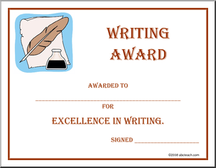 Certificate writing award awarded to for excellence in certificate writing award awarded to for excellence in writing yadclub Gallery