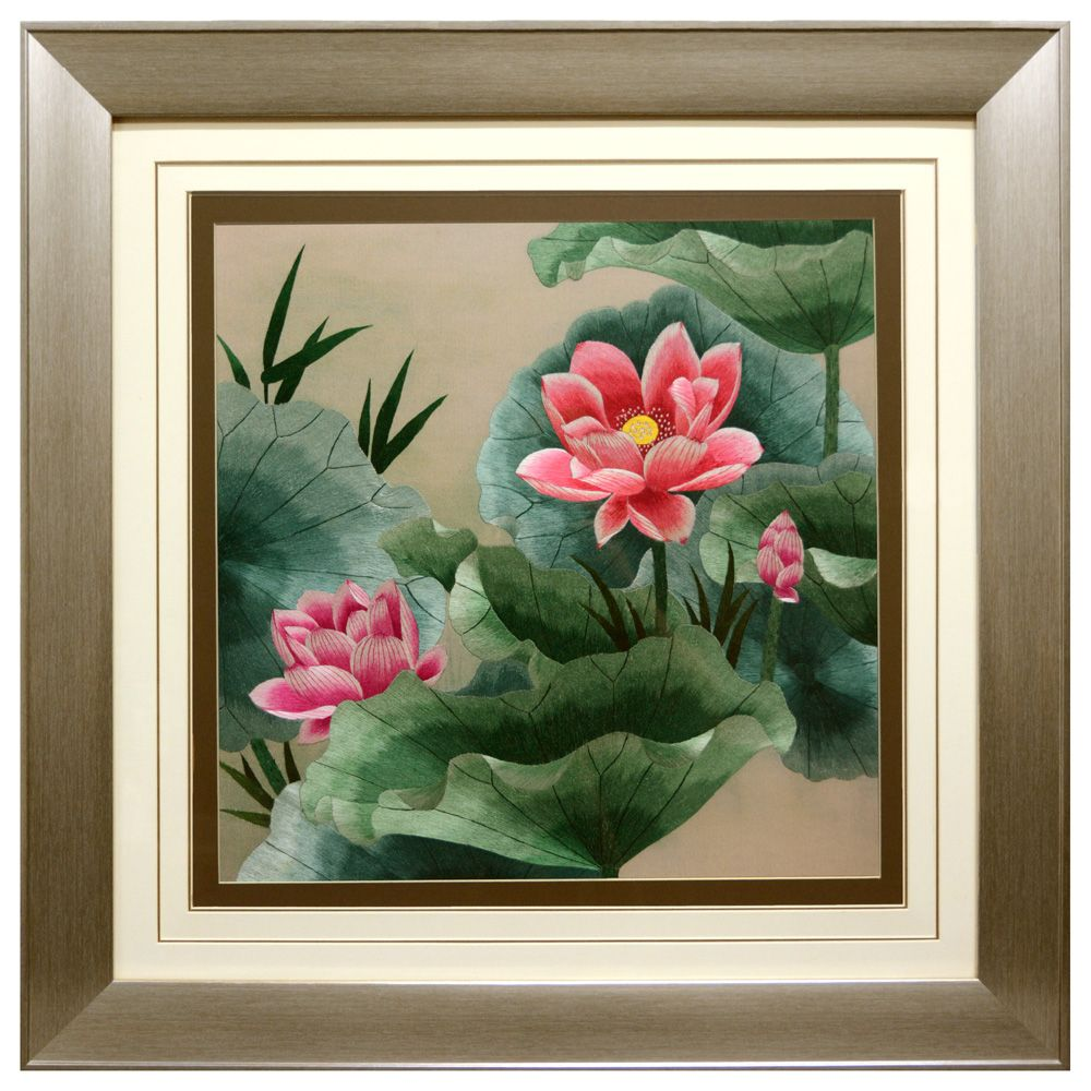 Lotus Flower Silk Embroidery Frame Chinese Silk Embroideries