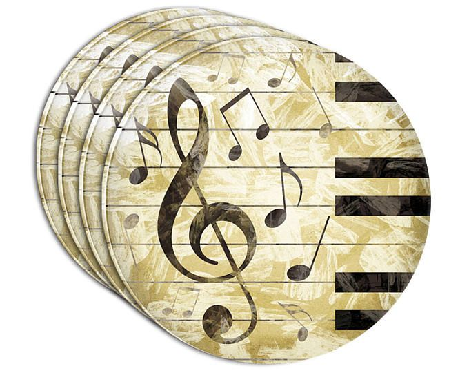 Vintage Piano With Treble Clef And Music Notes Acrylic Coaster Set ...