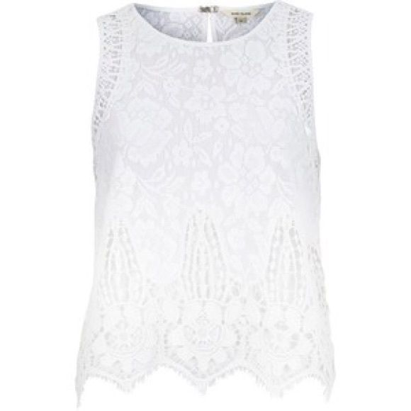 White lace sheer back tank top Size S and no flaws. Absolutely gorgeous piece. See-through (sheer) back and white lace front Tops Tank Tops