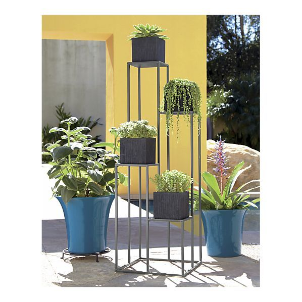 quadrant plant stand in garden patio crate and barrel for outside the home plants garden. Black Bedroom Furniture Sets. Home Design Ideas