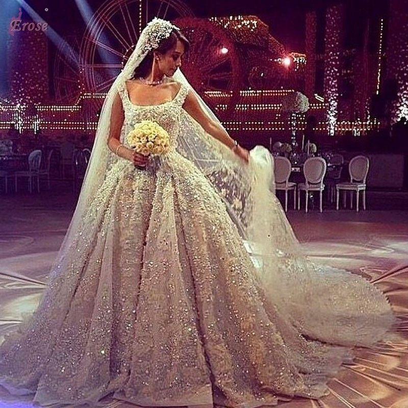 Luxury Princess Scoop Neck Vintage Wedding Dress with