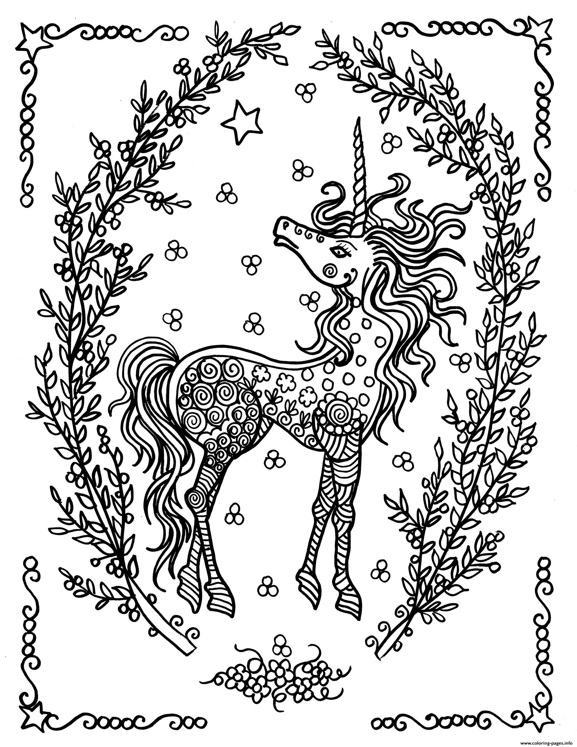 Print adult licorne by deborah muller coloring pages colouring
