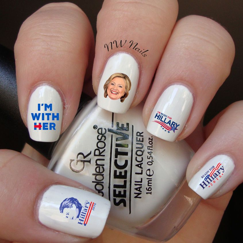 Hillary Clinton I\'m With Her Nail Art Waterslide Decals | Pedicure ...