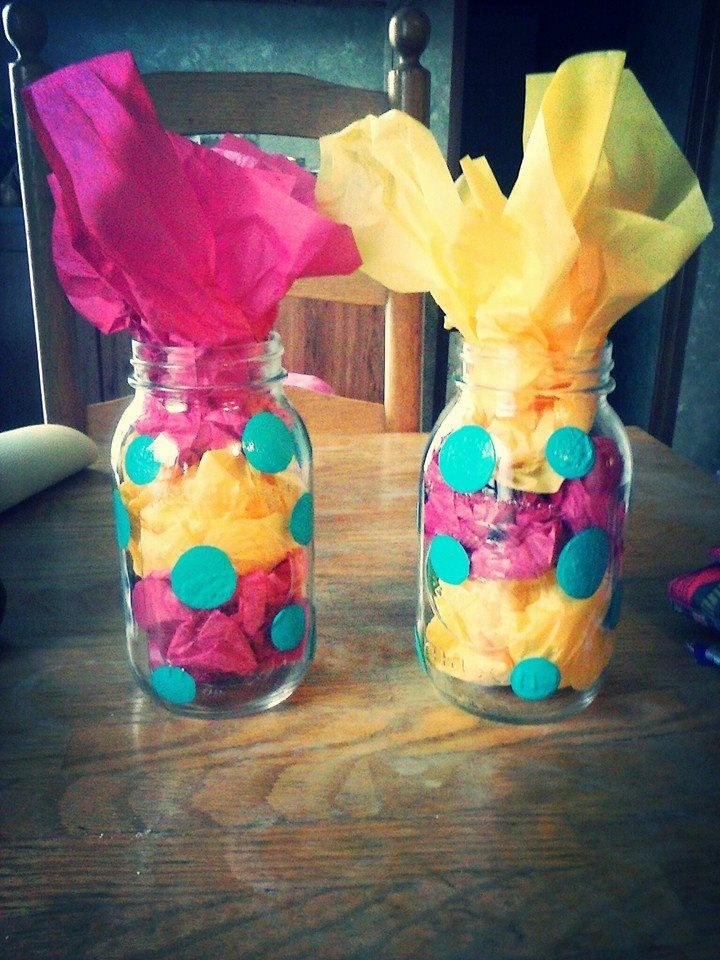 Polka Dot Mason Jar Birthday Party Centerpieces Love These Colors