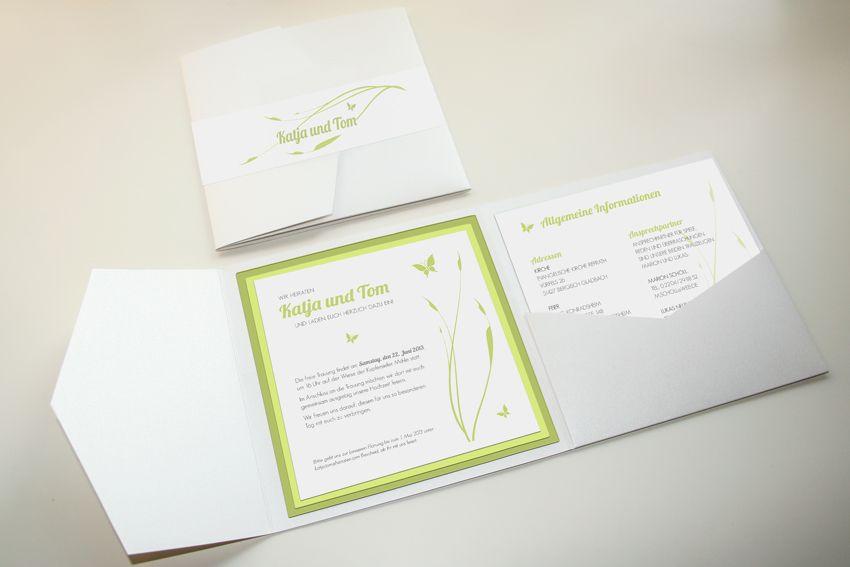 Einladung Zur Hochzeit, Pocket Fold 5x5, Modern Und Frisches Design. Thema: Freie  Trauung Auf Einer Wiese. Farben: Weiß, Grün, Hellgrün, Matt Und Glänzend.