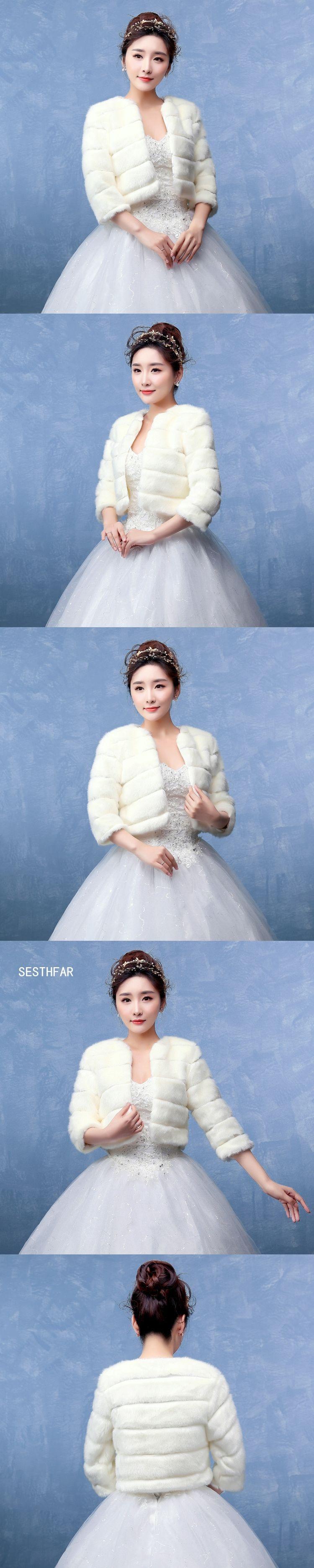 Free Shipping 2018 Winter Bridal Fur Wraps Wedding Bolero Jacket ...