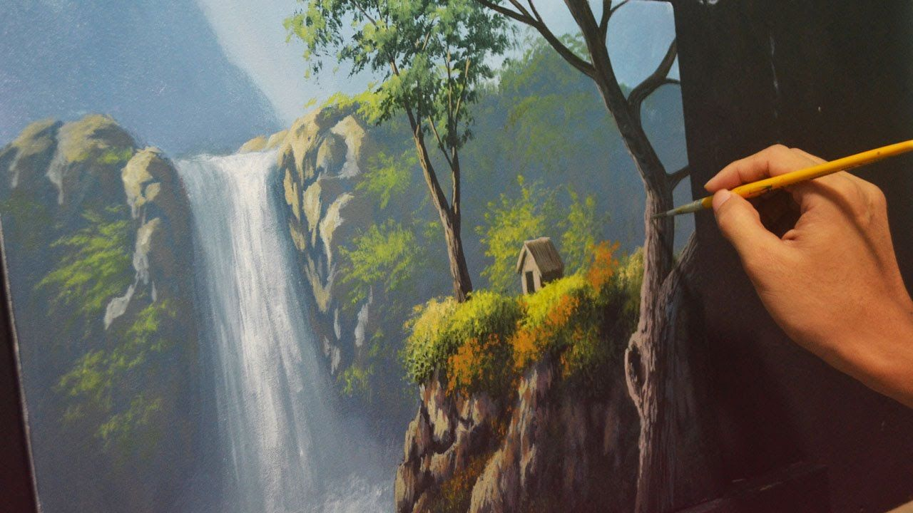 c0d88edc5 Acrylic Landscape Painting Lesson - House Beside the Waterfalls by JMLis.