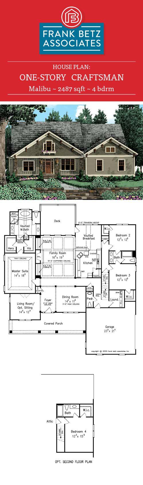 Malibu: 2487 sqft, 4 bdrm, one-story craftsman house plan design ...